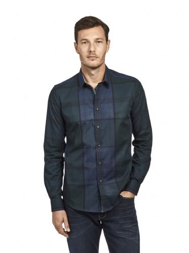 Mish Mash Men's Designer Long Sleeve Buttoned Navy Blue Check Casual Shirt